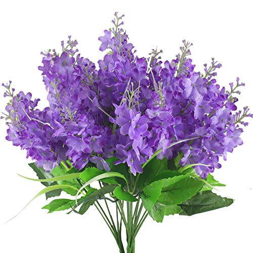 GTIDEA 4pcs Artificial Wisteria Bundle Fake Flowers Silk Floral Bouquet Arrangements Home Garden Fences Restrant Hotel Parties Wedding Simulation Decor (Purple)