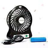 OPOLAR F101 Portable Rechargeable Fan, Mini USB fan with 1800mAh Lithium Battery, Desk Tabletop Fan, Battery Powered Fan, Personal Fan, Small Travel Fan, Outdoor Fan, 3 Speeds, with Night Light-Black