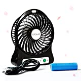 OPOLAR F101 Portable Rechargeable Mini USB Fan with LG 18650 Lithium (2200mAh) Battery, Night Light-Black
