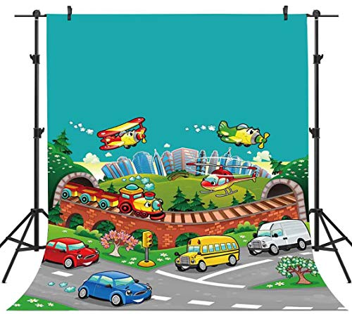 PHMOJEN 5x7ft Cartoon Backdrop Cute Airplanes Train Cars Photography Background Kids Theme Birthday Party Decoration Wallpaper Photo Shooting Props -