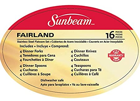 Amazon.com | Gibson Sunbeam Fairland 16-Piece Flatware Set, White, Service for 4: Flatware Sets