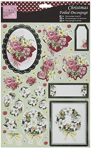 docrafts-anitas-christmas-a4-foiled-decoupage-sheet-festive-flowers