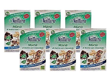 Nattura Muesli de Avena con Chocolate sin gluten orgánico Sin Leche Agregada Sin Aceite de Palma y Sin Levadura - 6 x 300 Gram: Amazon.es: Alimentación y ...