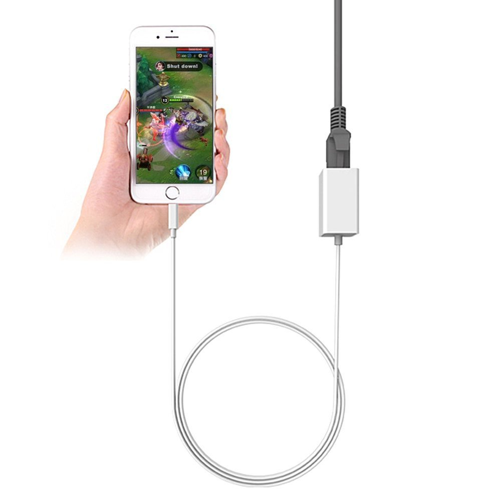 Lightning to RJ45 Ethernet Adapter Wired LAN 10/100Mbps High Speed Network Connector Overseas Travel for iPhone/iPad,System Required iOS 10.0 or Up