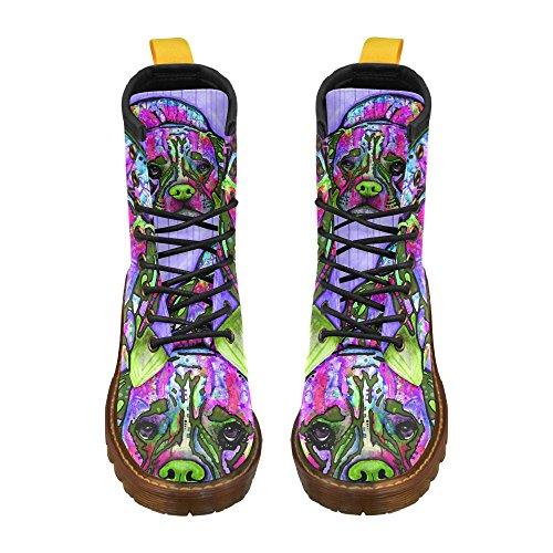 D-story Chaussures Coloré Chien Lacent En Cuir Martin Bottes Pour Femmes