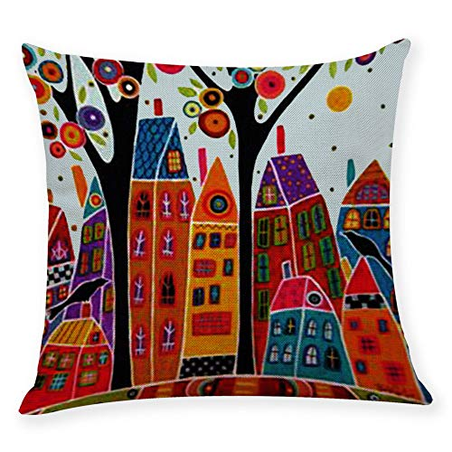 Alimao Cotton Linen Square Home Decorative Throw Pillow Case Sofa Waist Cushion Cover