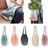 Sinwo Reusable Fruit String Grocery Shopper Tote Mesh Woven Net Shoulder Bag Handbag Convenient Shopping Mesh Bag (White)