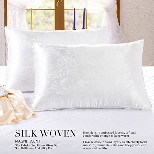 Linen Plus 2 Pack Queen Size Soft Hypoallergenic Bed Pillows Sleeping Silk Woven Fabric Feather Velvet Filler