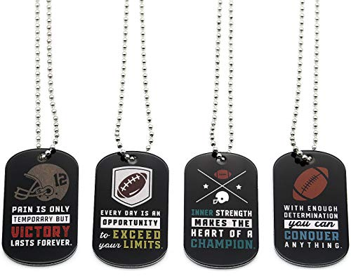 (12-Pack) Football Motivational Dog Tag Necklaces - Wholesale Bulk Pack of 1 Dozen Necklaces - Party Favors Sports Gifts Uniform Supplies for Football Players Fans Team Members