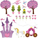 My Wonderful Walls Princess Wall Decals Peel & Stick Princess Decor and Princess Castle Decal for Girls Room, Baby Nursery and Princess Theme Baby Shower or Princess Party