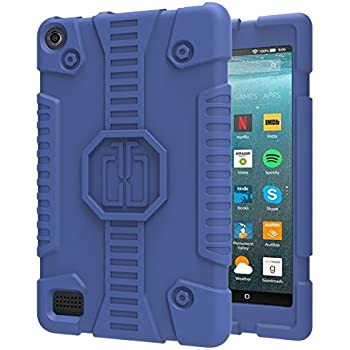 TsuiWah Case for All-New Fire 7 Tablet - Anti Slip Shockproof Flexible Kids Friendly Lightweight Protective Silicone Case for Amazon Kindle Fire 7 (7th Gen,2017 release)&(5th Gen,2015 release),Blue