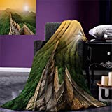 Great Wall of China Digital Printing Blanket Famous Place in Jinshanling Rocky Fences Dreamy Surreal Image Summer Quilt Comforter 80''x60'' Green Earth Yellow