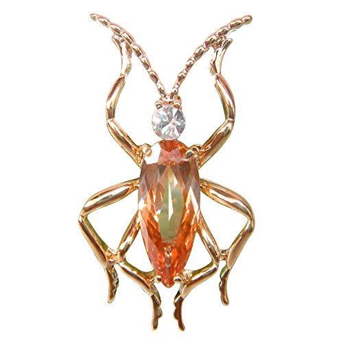 Navachi 18k Gold Plated Copper Orange Cubic Zirconia Zircon Bug Az7417b Brooches ()