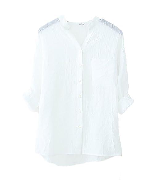Blusas De Mujer Elegantes Moda Vintage Lino Camisa Manga Niñas Ropa Larga Stand Cuello Color Sólido