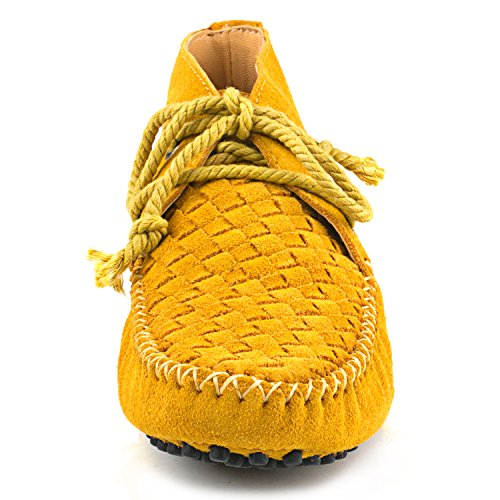 Shenduo Zapatos Casuales - Mocasines de cuero con cordones de moda de cordones para mujer D7258 Amarillo