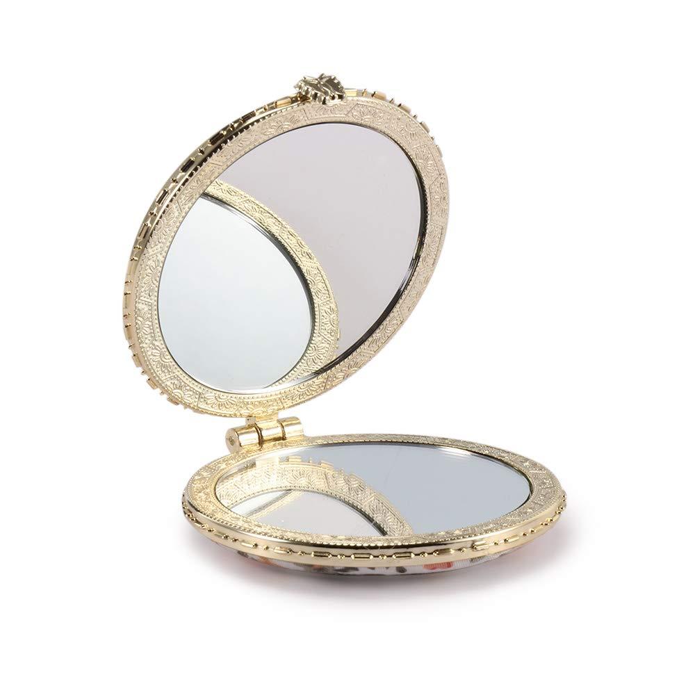 TiooDre 1 PC portatili Mini a doppia faccia da regalo pieghevole Cosmetic Mirror Retro tasca del fiore femminile specchio HONGJIJIDIAN