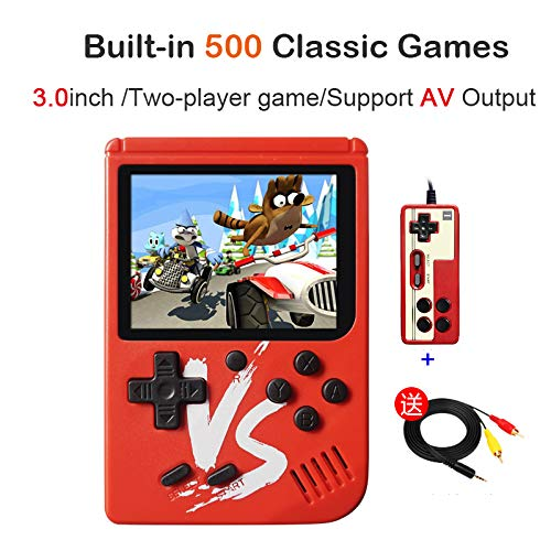 Kalolary Retro FC Handheld Game Console 500 Classic Games, 3 Inch Screen Support TV Video Game Player & 1 Joystick Controller, Birthday Presents for Kids to Adult (Red) by Kalolary (Image #6)