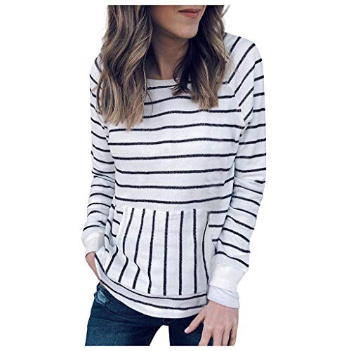 Sanyyanlsy Women's Casual Autumn Stripe Printing Long Sleeve O-Neck Wild Sweatshirt Pullover Tops T-Shirt with Pocket White