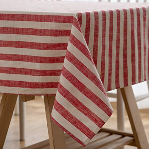Aquazolax Christmas Seamless Square Tablecloth 54x54 Cotton Linen Textured Stripe Table Covers for Farmhouse Home Décor, 54