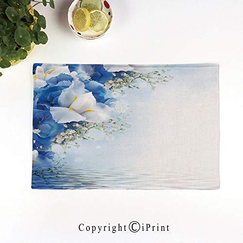 Dreamy Hydrangea (LIFEDZYLJH 4Pcs Simple Style Decorative Washable Anti-Slip Woven Flax-Like Table Placemats,Blue Hydrangeas and White Irises Over The Sea Romantic Bouquet Dreamy,Blue Light Blue White)