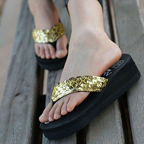 TOOGOO(R) Zapatillas nuevas de mujer Chanclas de playa con cunas plataforma antideslizante paillette, Tamano 5 Negro Oro