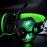 Jeecoo JC-G1000 Stereo Over-ear Gaming Headset with 7 Colors Breathing LED Light and Microphone - Green