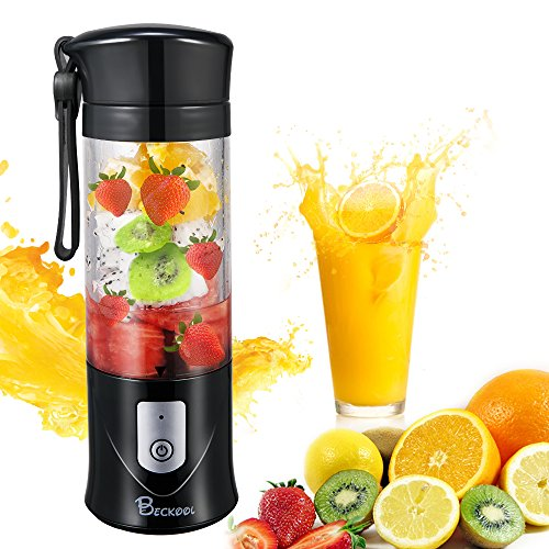 Portable Juicer Blender, Beckool Travel Personal USB Mixer Juice Cup with Updated 6 Blades and More Powerful Motor, 14Oz Bottle, 4000mAh Rechargeable Battery--Black (Blender Portable Rechargeable)