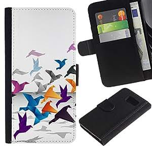 // PHONE CASE GIFT // Moda Estuche Funda de Cuero Billetera Tarjeta de crédito dinero bolsa Cubierta de proteccion Caso Samsung Galaxy S6 / Origami Crane /