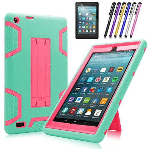 Fire 7 2017/2019 Case, Mignova Heavy Duty Hybrid Protective Case Build in Kickstand for All-New Fire 7 Tablet (7th /9th Generation 2017/2019) + Screen Protector Film and Stylus Pen(Blue/Pink)