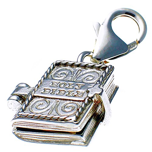 Opening Bible Charm (Welded Bliss Sterling 925 Silver Clip On Charm Bible Book Opening to Lord's Prayer. Handmade by Welded Bliss WBC1476)