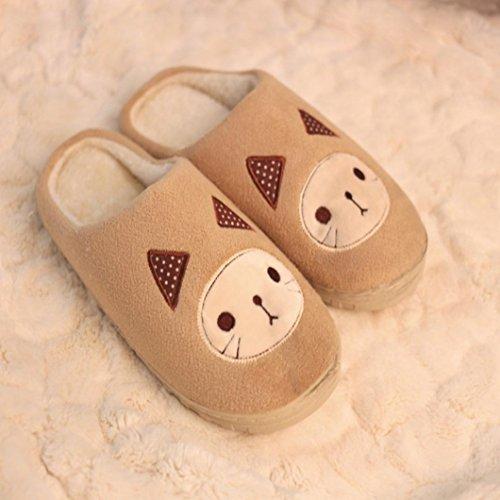 Elevin (tm) Femmes Hommes Hiver Bonbons Chauds Couleur Pantoufles De Coton Maison Anti-dérapant Chaussures Khaki1