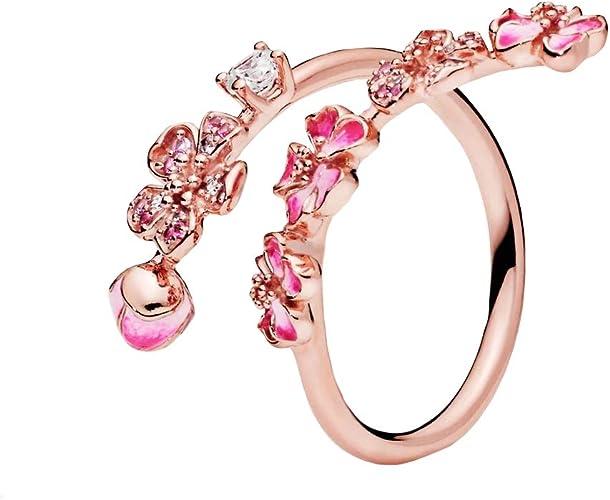 Pandora Rosé Bague en Forme de Fleur de pêche, Cristal Rose, Zircon  Transparent et Rose, Saphir synthétique Rose et émail Rose.
