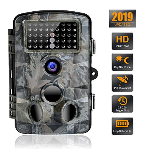 SEREE Trail Camera 16MP 1080P Waterproof Wildlife Scouting Camera Hunting Camera with 120 Wide Angle Detection Night Vision Up to 65ft 2.4 LCD 42 IR LEDs 0.2s Trigger Time HC5