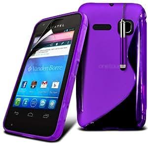 (Violeta) Alcatel One Touch S Pop Protección onda S Línea Gel piel cubierta retráctil Capacative Pantalla Táctil Lápiz Óptico & 6 Pack Protector de pantalla LCD Protector de Fone-Case