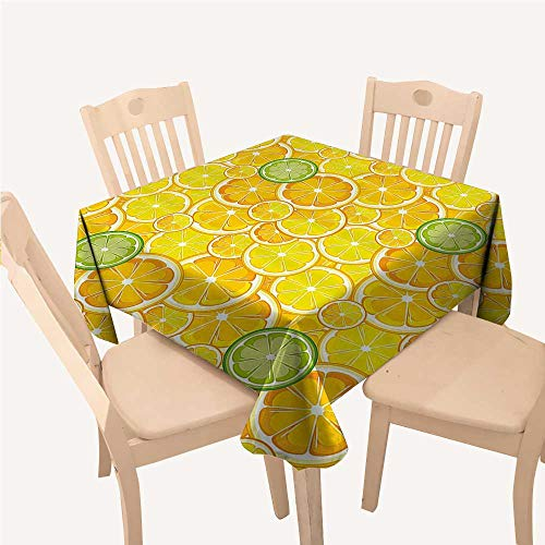 WilliamsDecor Yellow Decor Party Supplies Tablecloth Lemon Orange Lime Citrus Round Cut Circles Big and Small PatternYellow White and Green Square Tablecloth W54 xL54 inch