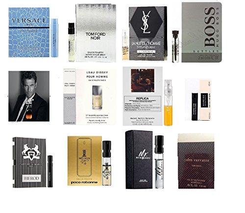 High End Designer Fragrance Sampler for Men - Lot x 12 Cologne Vials Dylan blue,Luna rossa,at the barber'sSpicebomb,Guilty,Ysl,Gio (Fragrance Vial)