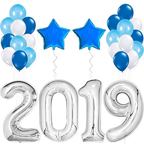2019 Balloons Silver for New-Year, Large Size| Blue and Silver Balloon Kit | New Years Eve Party Supplies 2019 | Graduations Party Supplies 2019 | New Years Party Decorations, Graduations Decorations]()
