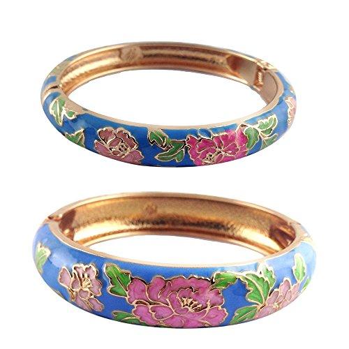 (UJOY Cloisonne Bracelets Flower Enameled Cuff Hinged Bangles Gold Plated Girls Women's Gifts Jewelry 55C48 Peony Blue)