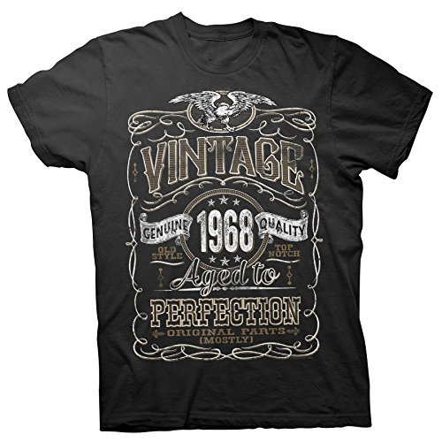 Vintage Aged Perfection 1968 - Distressed Print - 50th Birthday Gift T-Shirt - Black