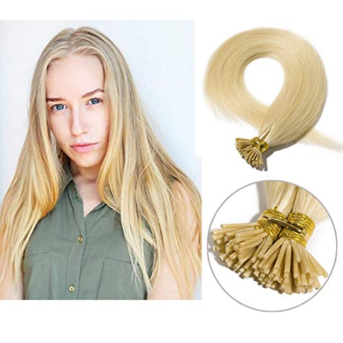 Pre bonded I Tip Human Hair Extension for Women Fusion Stick Tip Remy Human Hair Piece Invisible Keratin Glue in Hair Extensions Full Head 100 Strands 50 Gram 20Inch #613 Bleach Blonde