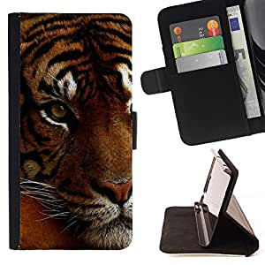 Momo Phone Case / Flip Funda de Cuero Case Cover - Cansado Sleepy gato grande Naranja piel del tigre - HTC One A9