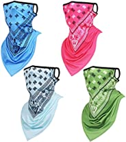 Howan Face Scarf Mask with Ear Loops - 4 Pack UV Sun Protection Reusable Balaclava with Chiffon Neck Gaiter