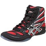 ASICS Men's Split Second 8 Wrestling Shoe,Black/Red/Silver,11 M US