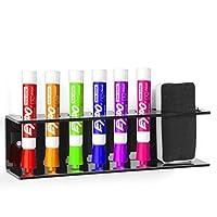 Estante de acrílico negro de montaje en pared 6 ranuras Marcador de borrado y soporte de borrador Organizador Rack - MyGift®