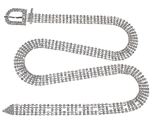 Crystal Rhinestone Chain Waist Buckle Belt Fashion Accessory for Women (5 Line, - Rhinestone Fashion Buckle Belt