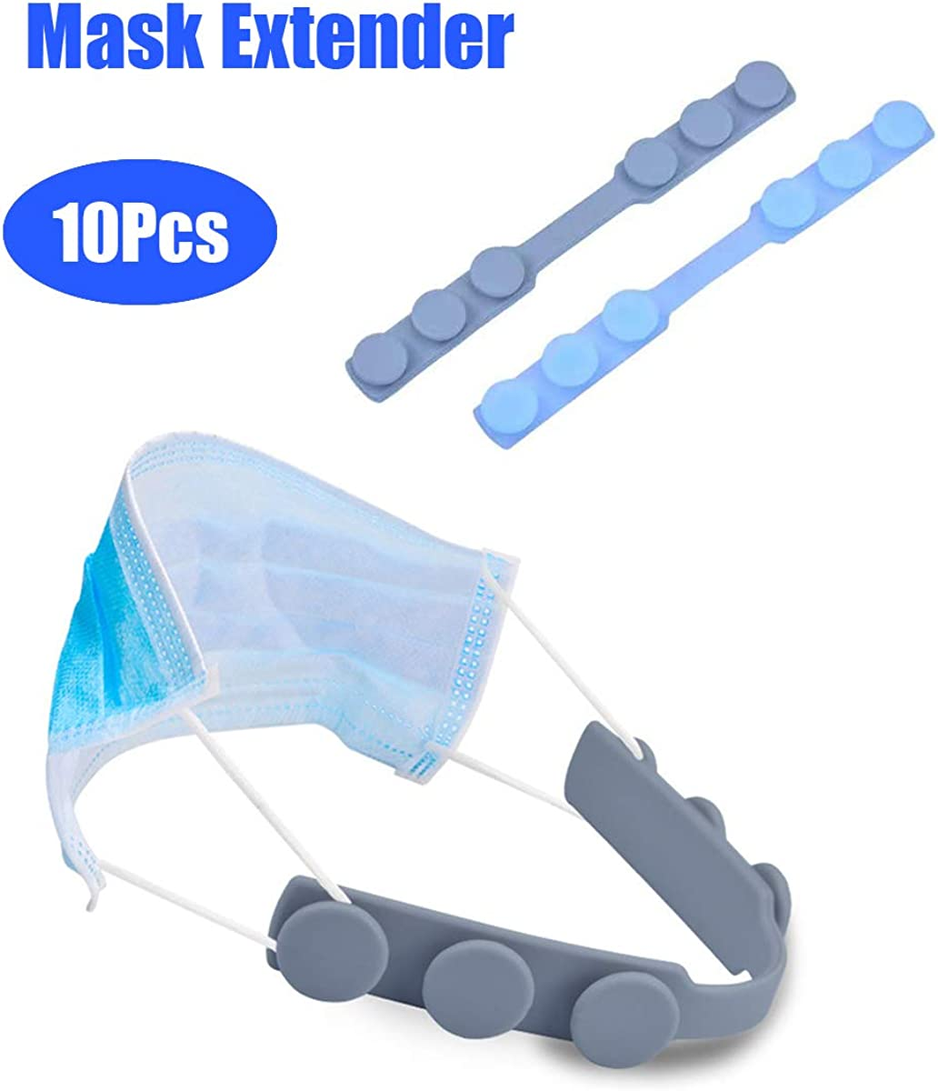 10PCS Mask Extender Strap Extender Anti-Tightening Ear Protector Decompression Holder Hook Ear Strap Accessories Ear Grips Extension Mask Buckle Ear Pain Relieved Colour Random(Grey and Blue)