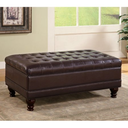 Large Leather Ottoman, Storage Bench, Backless, Tufted, Rectangle Shape, Dark Brown Finish, Extra Space, Perfect for Entryway, Bedroom, Living Room, Indoor Home Furniture, BONUS ()