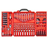 Mechanics Tool Set - 190 Piece Professional Hand Tool Box Kit - 1/4 - 3/8 Inch Drive Socket Set, Inch/Metric, 6 - 12 Point, Screwdrivers, Hex key, Wrenches, Pliers, Ratchets, Bits, Industrial & Home