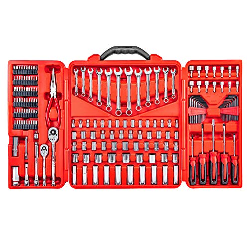 Mechanics Tool Set – 190 Piece Professional Hand Tool Box Kit - 1/4 – 3/8 Inch Drive Socket Set, Inch/Metric, 6 – 12 Point, Screwdrivers, Hex key, Wrenches, Pliers, Ratchets, Bits, Industrial & Home ()