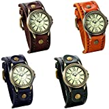 JewelryWe Lot of 4 Wholesale Vintage Leather Strap Wide Band Wristwatch Cuff Quartz Watches for Men